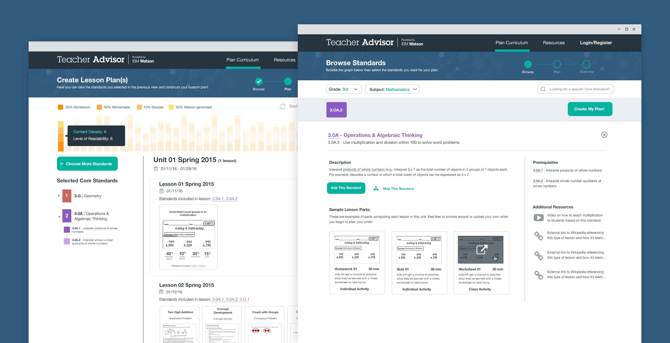 two overlapping screenshots of the first teacher advisor interface with lesson planning and lesson parts visible