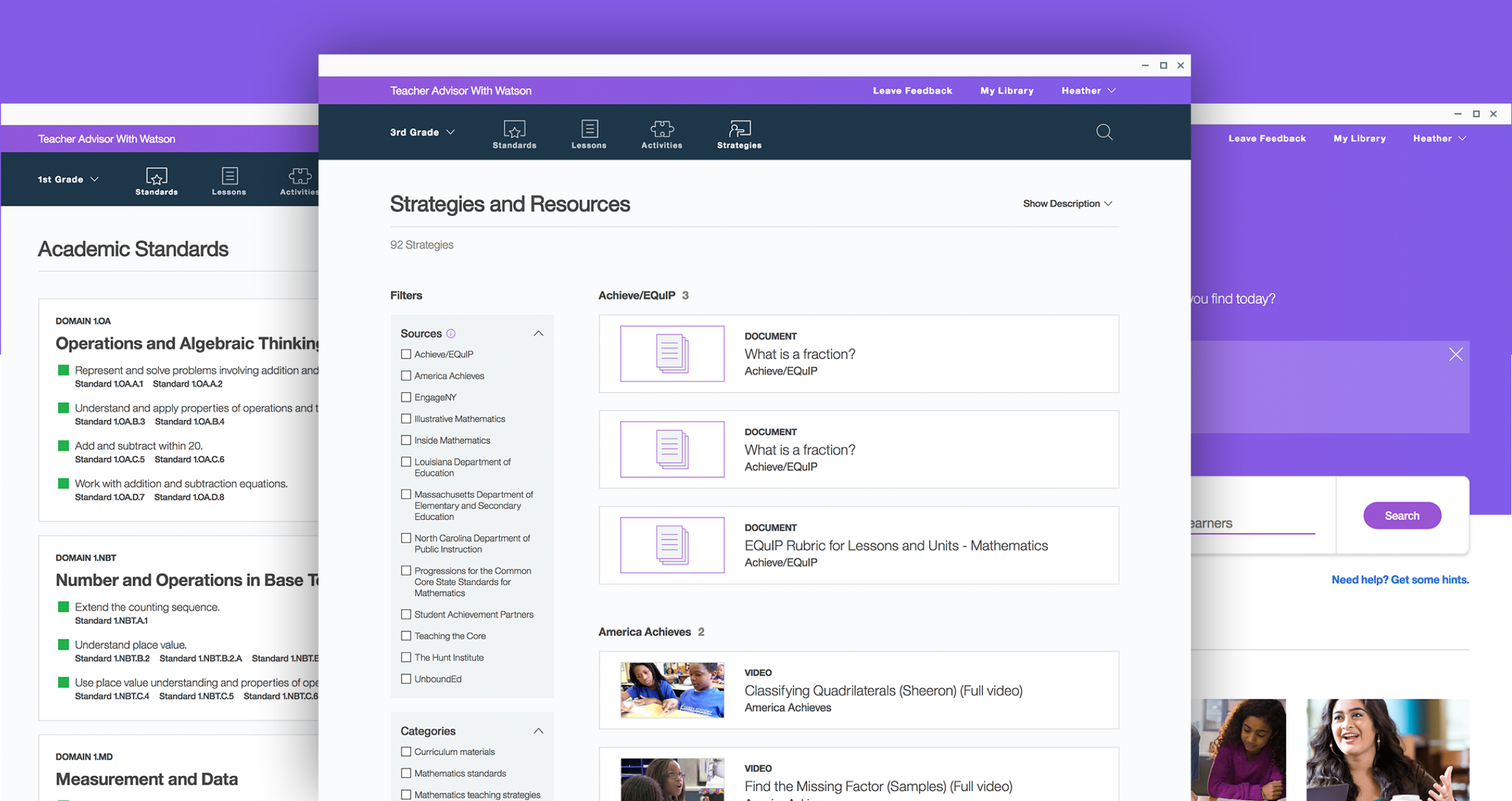 three overlapping screenshots of the final IBM Teacher Advisor interface with a primarily purple interface andc call to action
