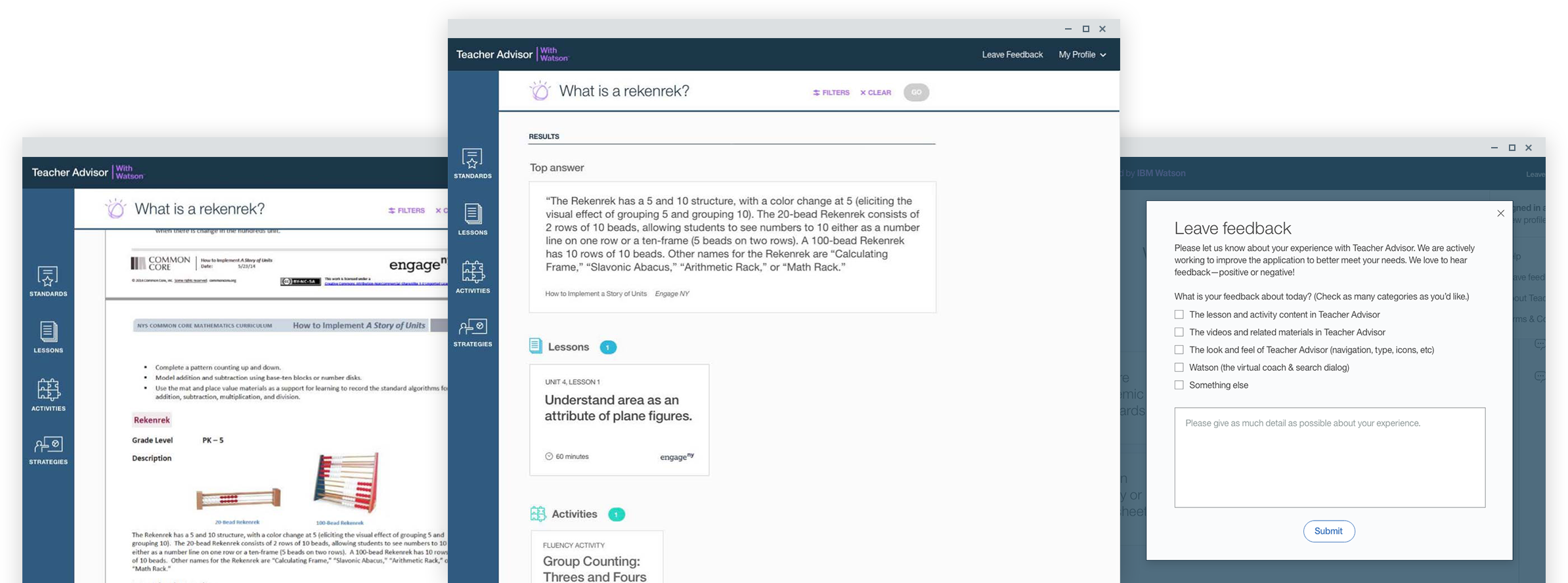 three screenshots of third mockup round for teacher advisor depicting common core lesson planning with watson front and center