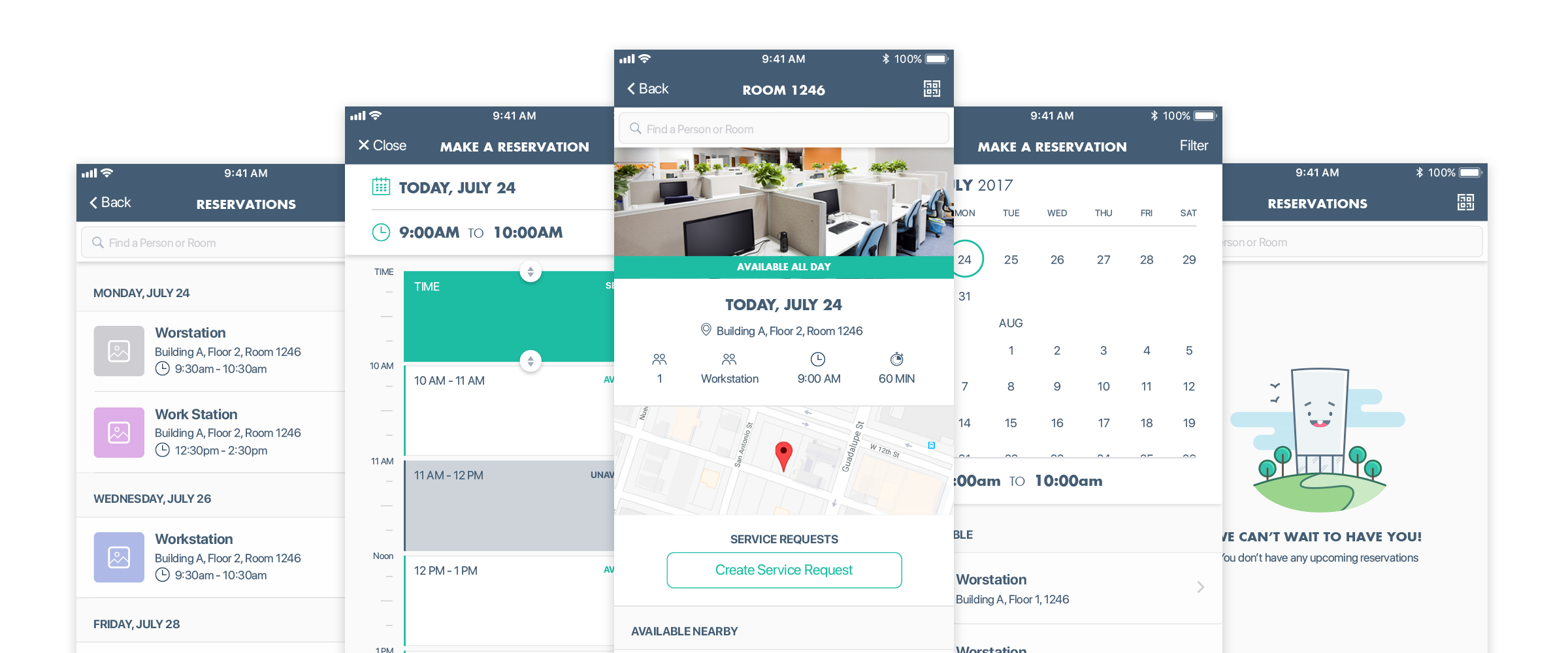 five mobile mockup examples of the different space management screens including a custom illustration created for empty and success states