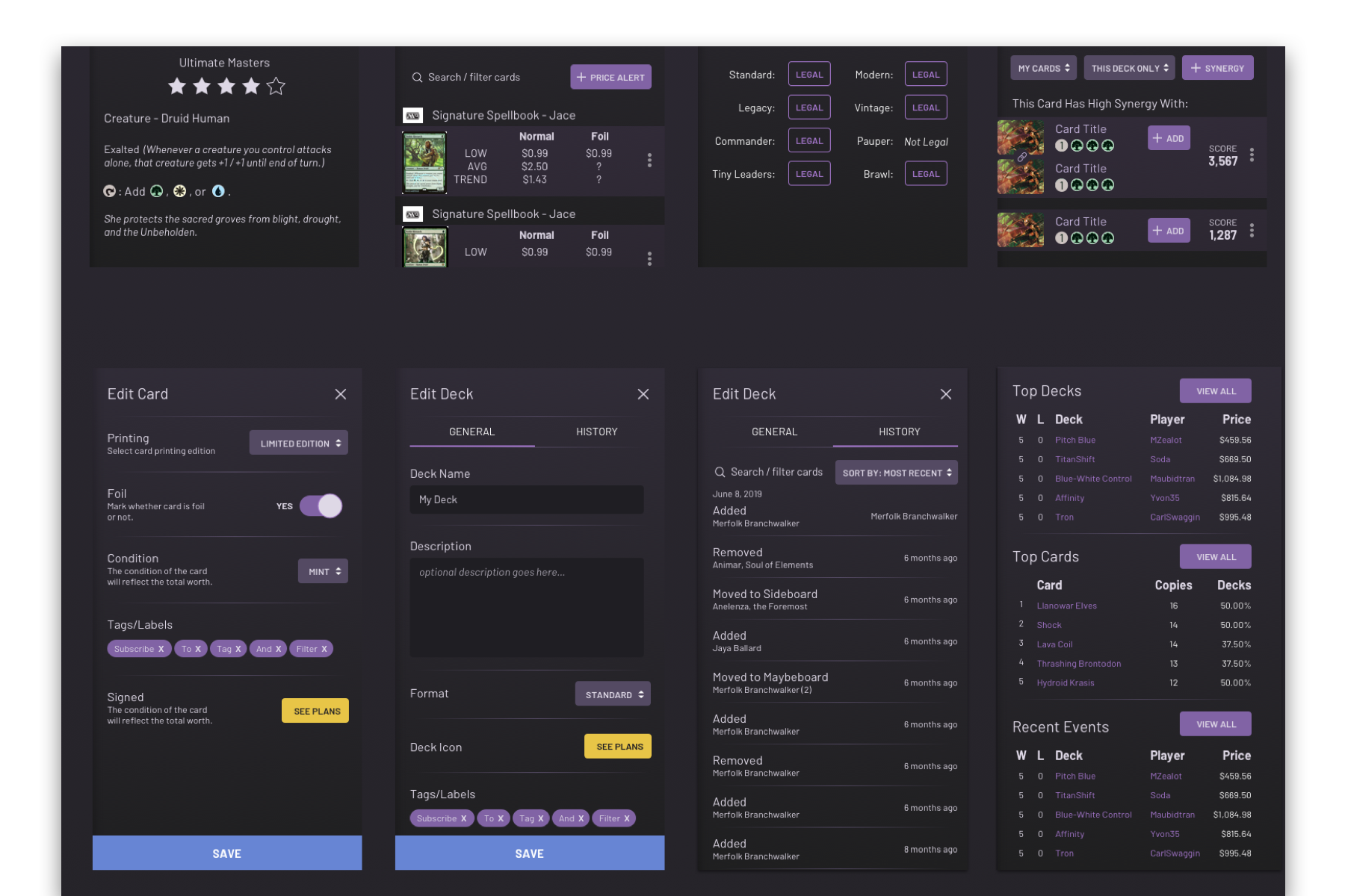 dark themed component library created for topdecked's user interface.