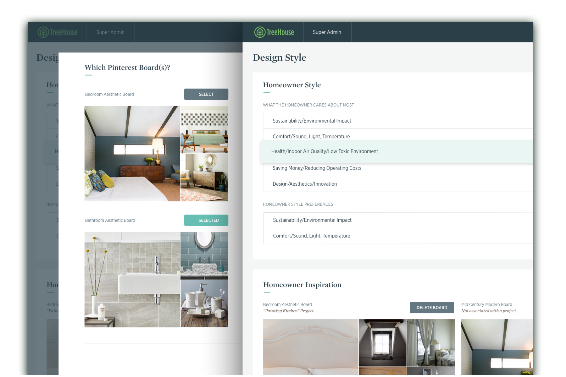 two overlapping interface screenshots of a Treehouse branded desktop and tablet interface.