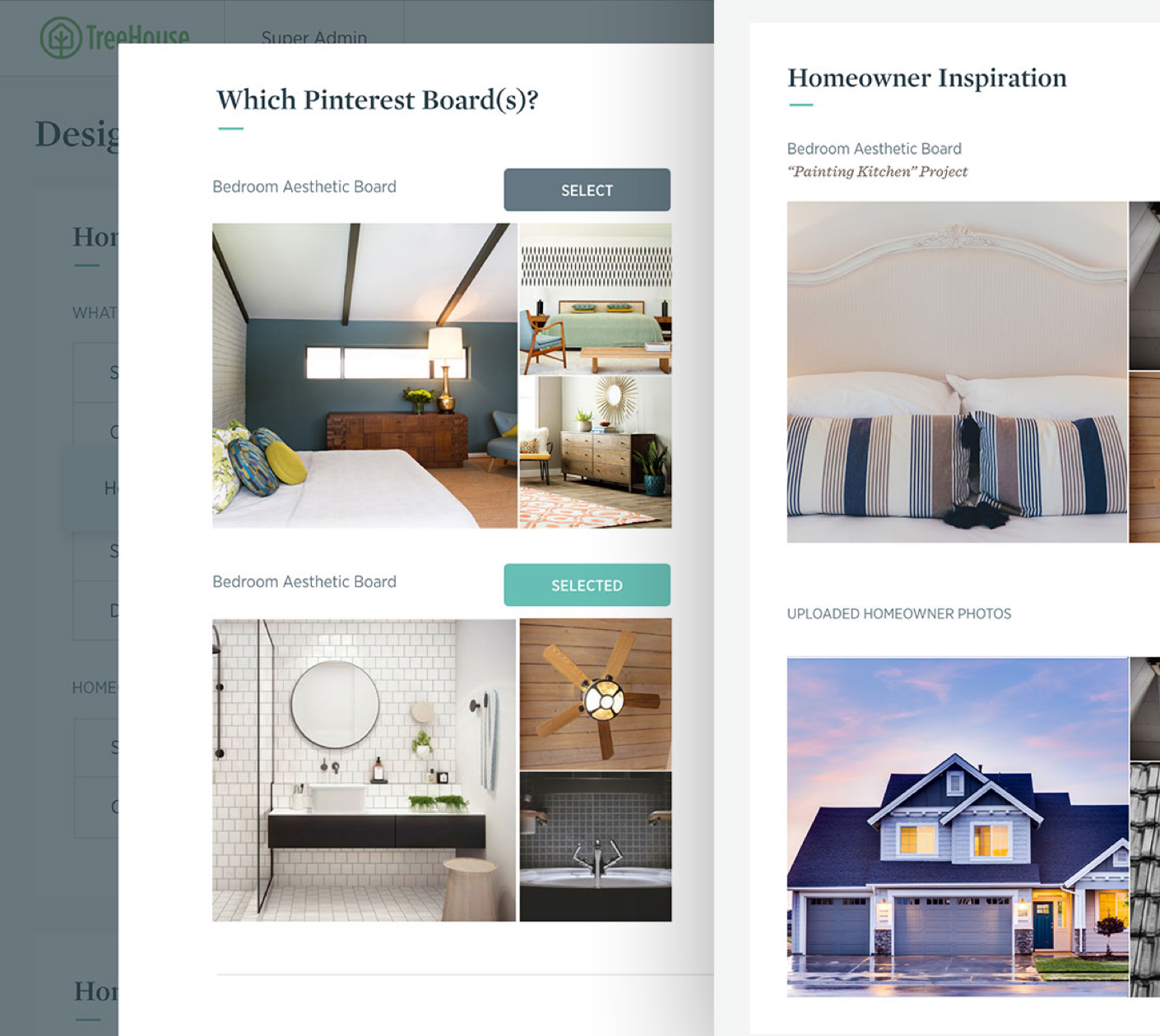 image of two overlapping Treehouse interface screens including a pinterest board upload component and a photo grid of uploaded homeowner photos